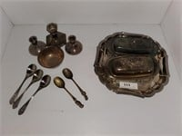 Rogers Silver Plate Tray, Butter Dishes, Spoons