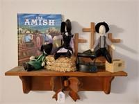Shelf w/ Amish Dolls & Book
