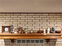 Mantle Clocks, Vases, Contents of Mantle