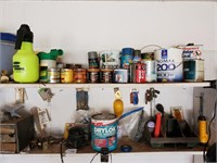 Paint, Buckets, Assorted Contents of Shelf