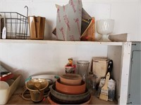 Clay Pots, Funnel, Contents of Shelf