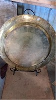 """BRASS DECORATIVE PLATTER ON A STAND  20"""" by 17 """""""