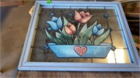 """STAINED GLASS FLOWER PIC, 16"""" by 20"""""""