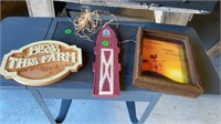 3 WALL HANGINGS ,2 ARE WOOD AND ON IN GLASS FRAME