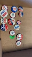 BOX OF POLITICAL BUTTONS