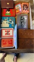 BOX OF PLAYING CARDS, 2 LITTLE BOXES AND WALL