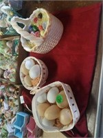 BOXES OF DECORATIVE EASTER BUNNIES,  EGGS AND