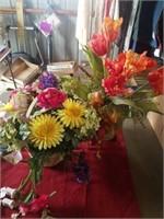 BASKET FULL OF ARTIFICIAL FLOWERS,  2 LIGHT UP