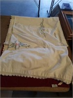 """80"""" x 81"""" VINTAGE COVERLET, HAND EMBROIDERED"""