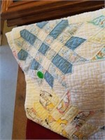 """74"""" x 77"""" VINTAGE QUILT, HAND QUILTED"""
