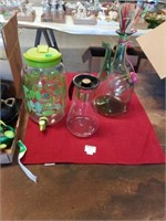3 PITCHERS,  WINE DECANTER, GALLON JUG WITH SPOUT