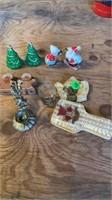3 CHRISTMAS SALT AND PEPPER SHAKERS , SHOT GLASS