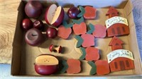 APPLES IN METAL BOWL AND WOODEN APPLES AND WOOD