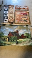 FARM SCENE TAPESTRy,2 AUTUMN TAPESTRIES AND