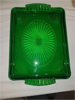 1 GREEN DEPRESSION PLATE AND 1 VINTAGE BOWL