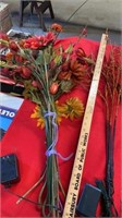 TALL BUNCH OF FALL FLOWERS AND 3 LIGHTED BUNCHES