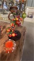 SHINY FESTIVE GARLAND CANDLE ORANGE JAR FLOWERS