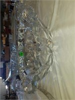 CRYSTAL PUNCHBOWL AND 8 CUPS, LARGE THICK