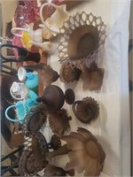 MANY PIECES OF BROWN GLASS WESTMORLAND