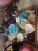 PRETTY  BLUE GLASS BASKET AND CANDLE HOLDERS,