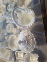 FENTON MILK GLASS WITH HOBNAIL BUMPS, MANY