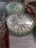 SNACK TRAY SET, 19 PLATES, 18 CUPS
