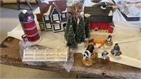 CHRISTMAS BARN,  SILO, HOUSE TREES ANUMALS AND