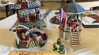 3 PIECE PATRIOTIC CERAMIC HOUSE, BAND STAND AND