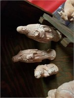 """NATIVITY SET,  MANAGER IS WOOD - 30"""" X 15"""", PEACH"""