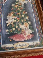 """18"""" X 9"""" CHERUB PICTURE, OYHER 3 ARE HOLIDAY"""