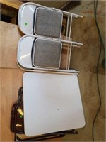 """GLOSS GREY CARDTABLE AND 4 CHAIRS, """"MECO"""" MADE IN"""