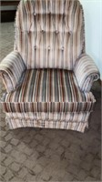 LIKE NEW STRIPED CHAIR HAS BEEN NEWLY UPHOLSTERED