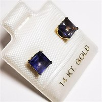14K Yellow Gold Iolite  Earrings, Made in Canada