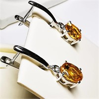 Rhodium Plated St.Silver Citrine(3ct)  Earrings