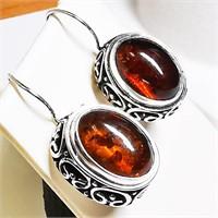 Silver Amber  Earrings (~weight 9g) (BK06-108)