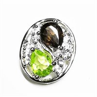 Silver Garnet(0.8ct) Peridot(0.8ct)  Necklace