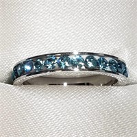 Silver Crystal  Ring (~Size 6) (BK06-111)   (D2)