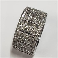 Silver Cubic Zirconia  Ring (~Size 9) (BK06-117)