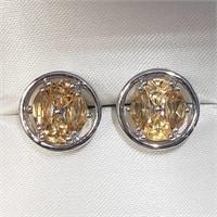 Silver Citrine(2ct)  Earrings (BK06-119)   (D2)