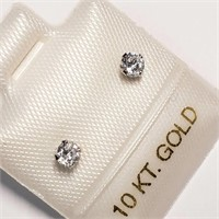 10K White Gold Cubic Zirconia  Earrings, Made in