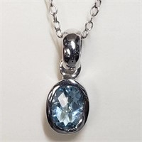 Rhodium Plated St.Silver Blue Topaz  Necklace