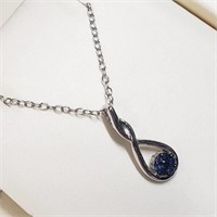 Rhodium Plated St.Silver Sapphire  Necklace