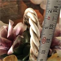 169 - 14 INCH BEAUTIFUL CAPODEMONTE FLOWER BASKET