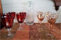169 - VINTAGE GLASSWARE W/ DECANTER