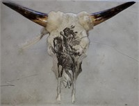 169 - UNIQUE NATIVE AMERICAN SKULL PAINTING W/HORN