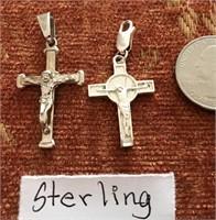 169 - PAIR OF STERLING CROSS PENDANTS