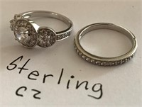 169 - STERLING CZ SET OF 2 RINGS