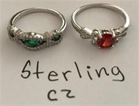 169 - STERLING CZ PAIR OF RINGS