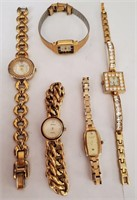 169 - SET OF 5 GOLDTONE WATCHES