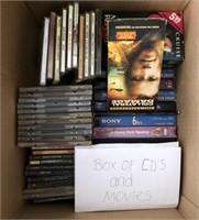 169 - BOX OF CD'S & MOVIES